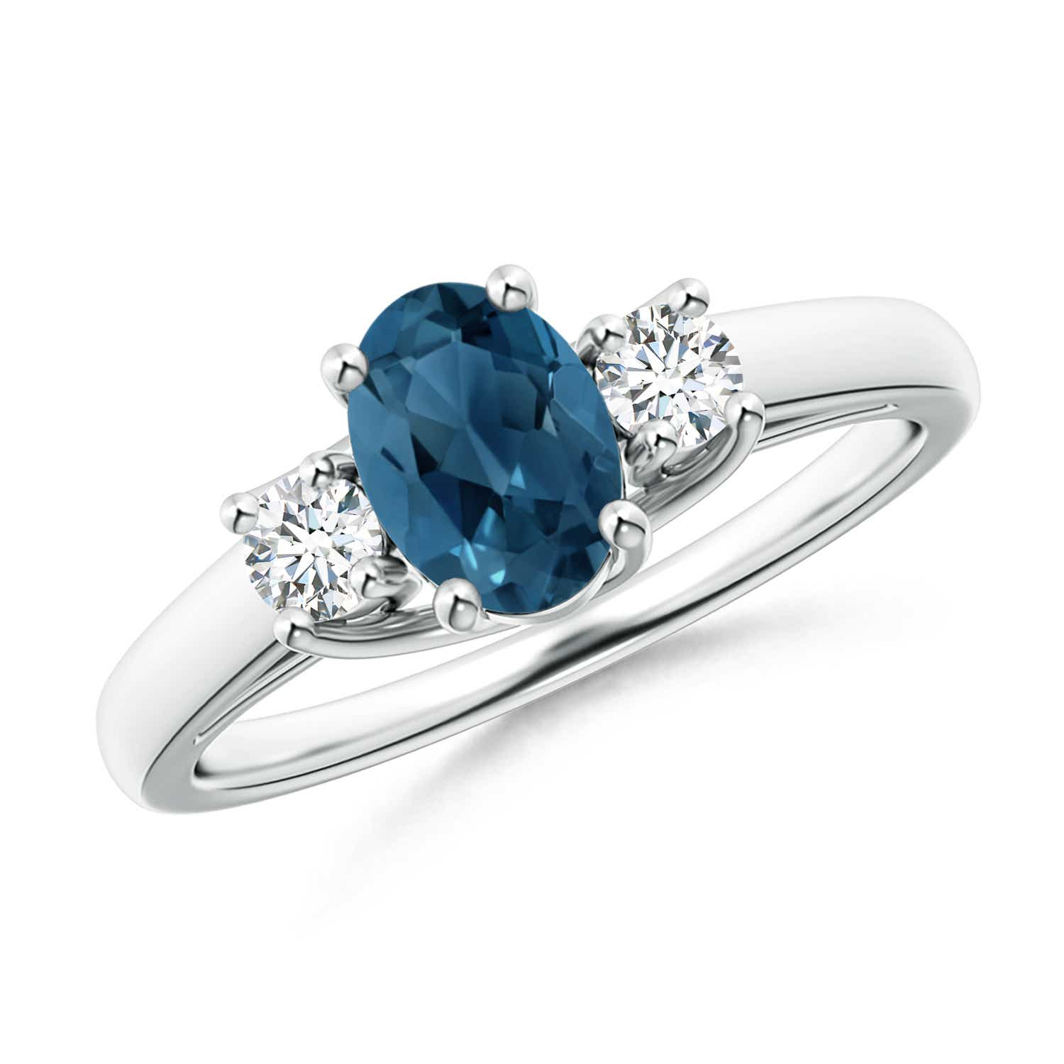 Angara Natural London Blue Topaz and Diamond Three Stone Ring in White Gold C164foo