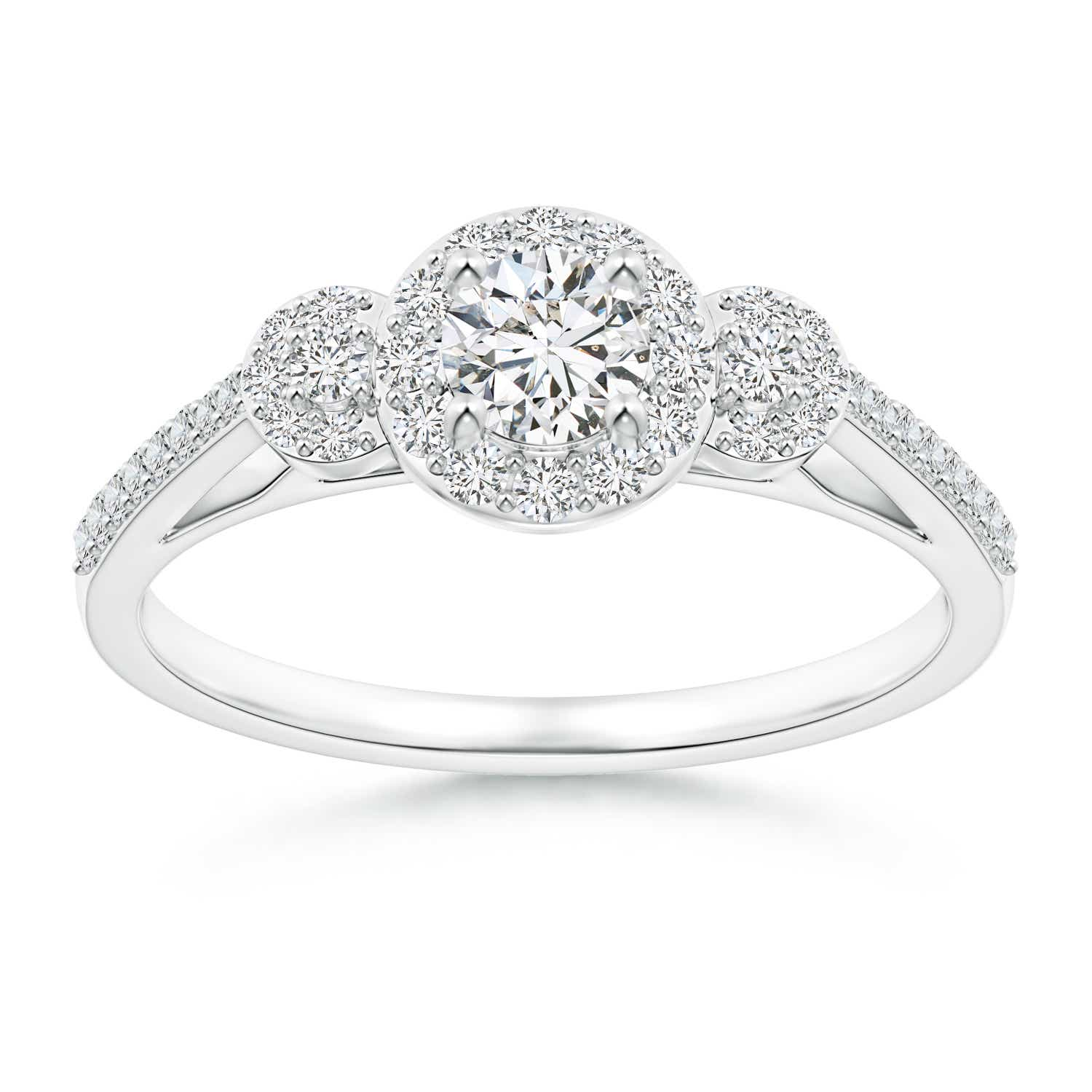 Three Stone Round Diamond Halo Ring with Prong Setting - Angara.com