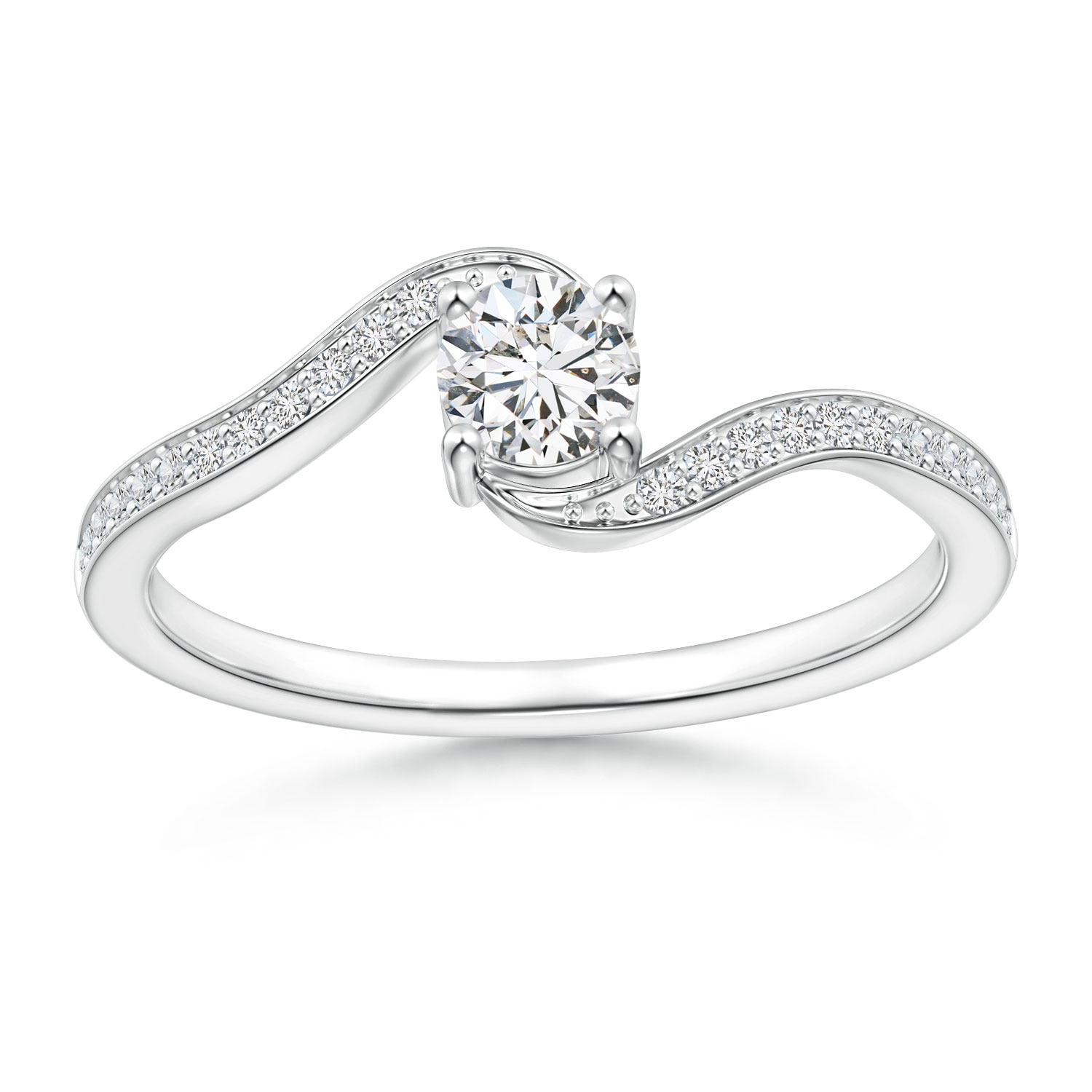Round Diamond Solitaire Bypass Promise Ring with Diamond Accents - Angara.com