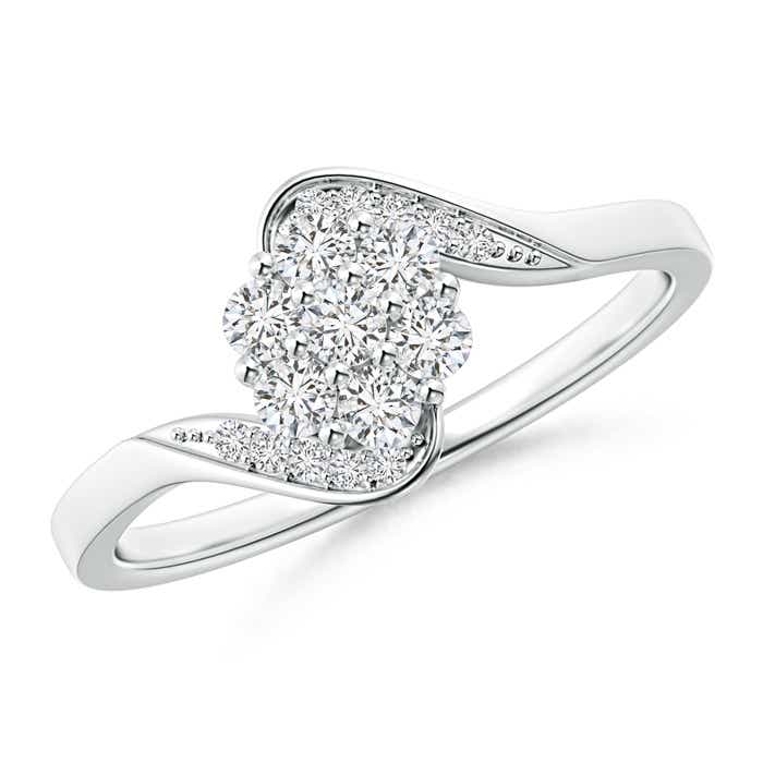 Round Cluster Diamond Bypass Ring with Prong Setting - Angara.com