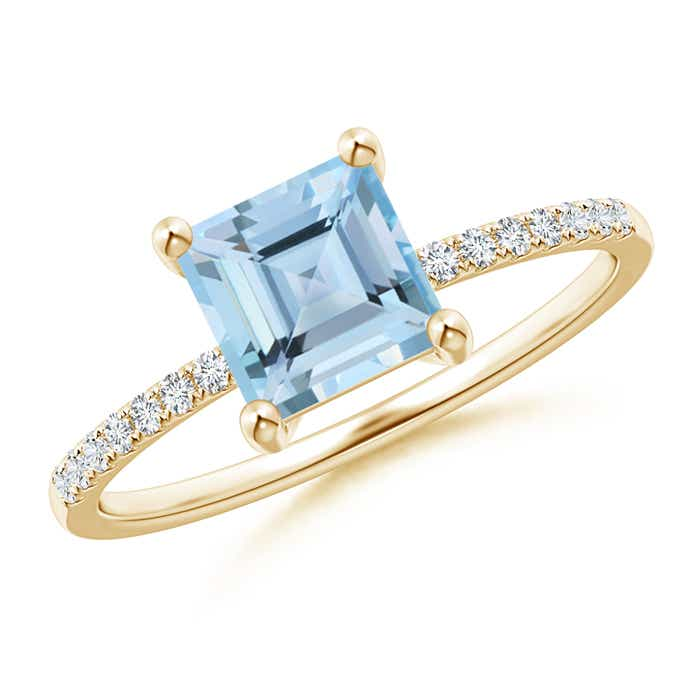 Square Cut Aquamarine with Diamond Studded Shank Solitaire Ring