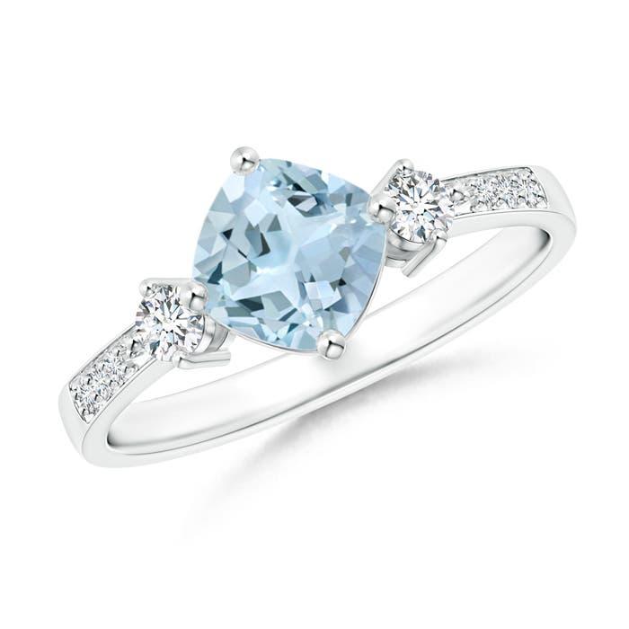 Angara Cushion sideways Aquamarine and Round Diamond Three Stone Ring 02fQl
