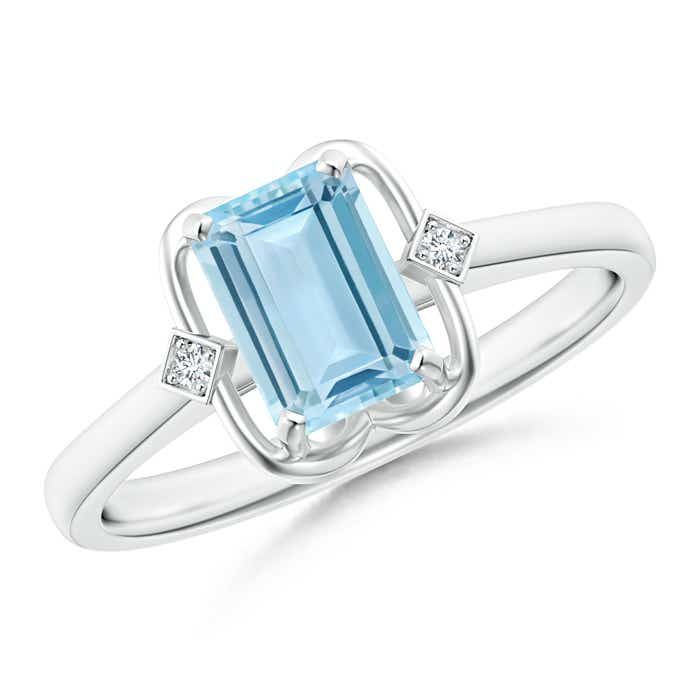 Angara Emerald-Cut Aquamarine Ring in Yellow Gold WrTCOS
