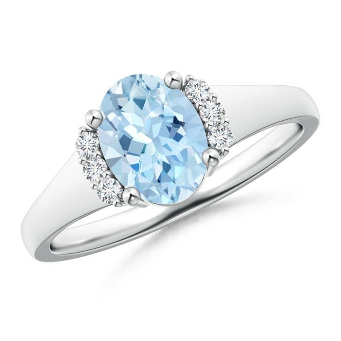 Oval Aquamarine with Round Diamond Collar Solitaire Ring - Angara.com