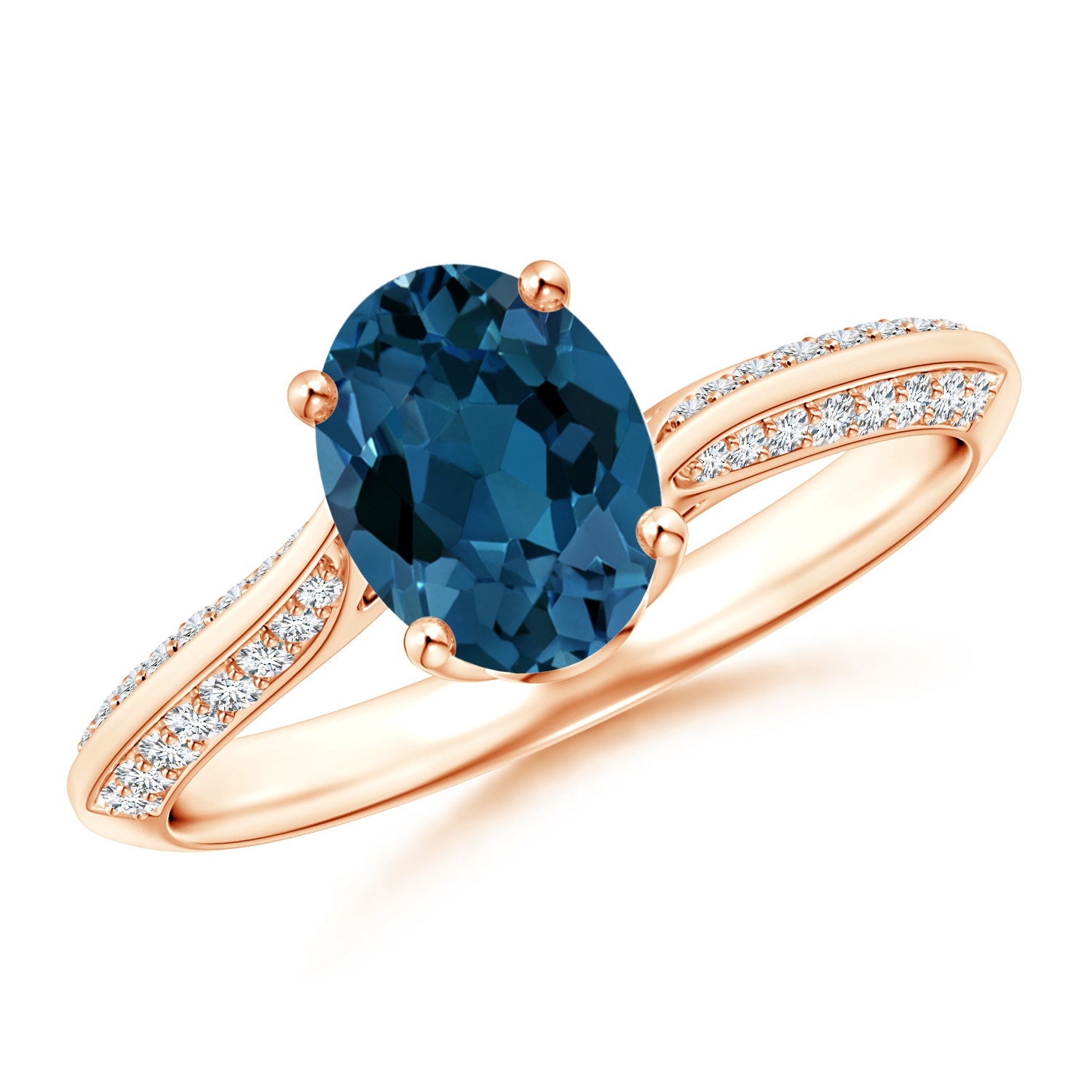 Oval London Blue Topaz Bypass Ring with Diamond Accents - Angara.com