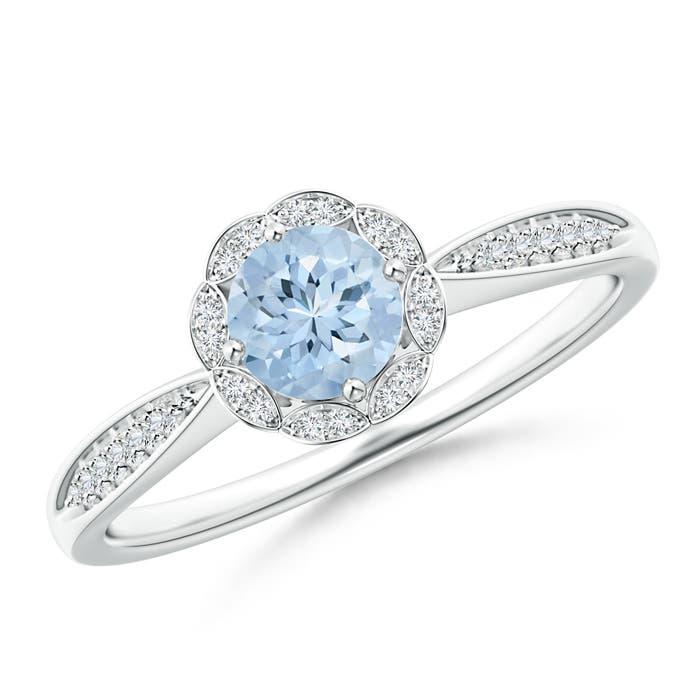 Round-Floral-Natural-Aquamarine-Diamond-Ring-in-Gold-Platinum-Size-3-13