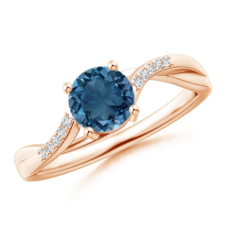 Angara London Blue Topaz and Diamond Split Shank Ring noS3uoLQ5