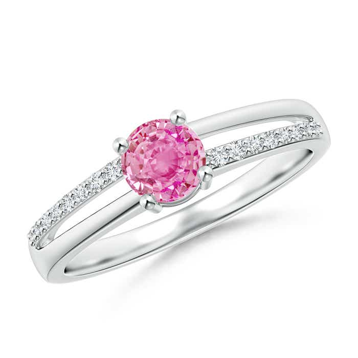Angara Pink Sapphire Halo Ring With Diamond Accents in 14k White Gold
