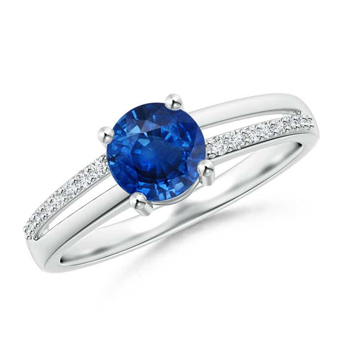 Split Shank Blue Sapphire Solitaire Ring with Diamond Accent - Angara.com