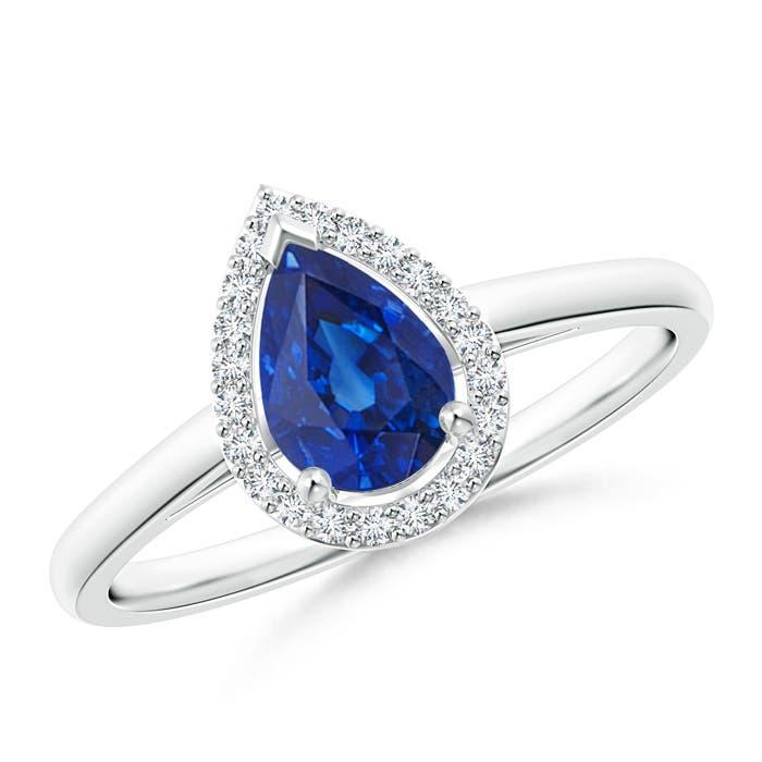 Diamond Halo Pear Shaped Blue Sapphire Cocktail Ring - Angara.com