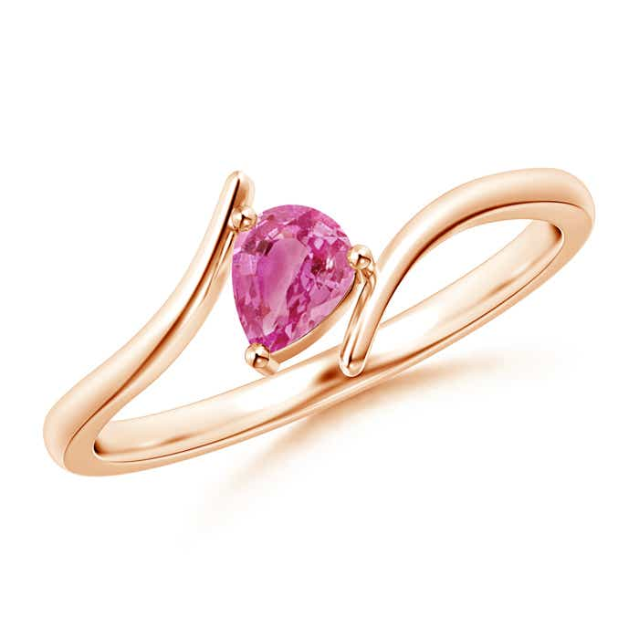 Bypass Pear Shaped Pink Sapphire Ring With Prong Set