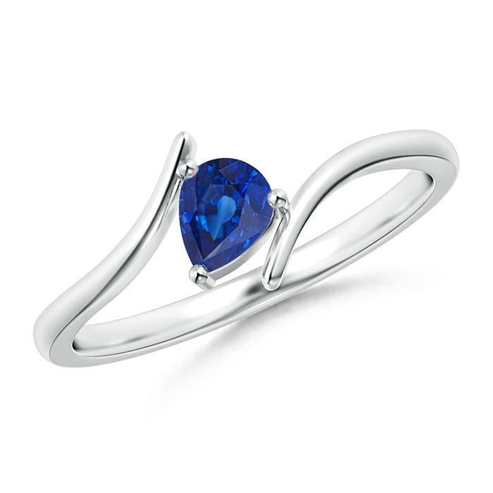 Angara Solitaire Pear Blue Sapphire Bypass Ring ARo5tSNJ4