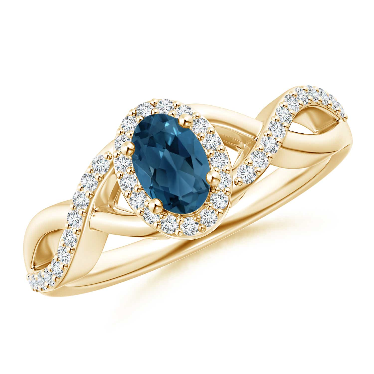 Angara Oval London Blue Topaz Diamond Halo Engagement Ring in Rose Gold 2KBtdE