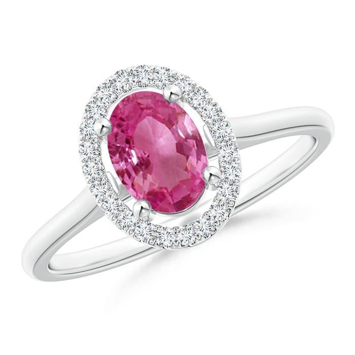 Prong Set Oval Pink Sapphire Halo Ring with Diamond - Angara.com