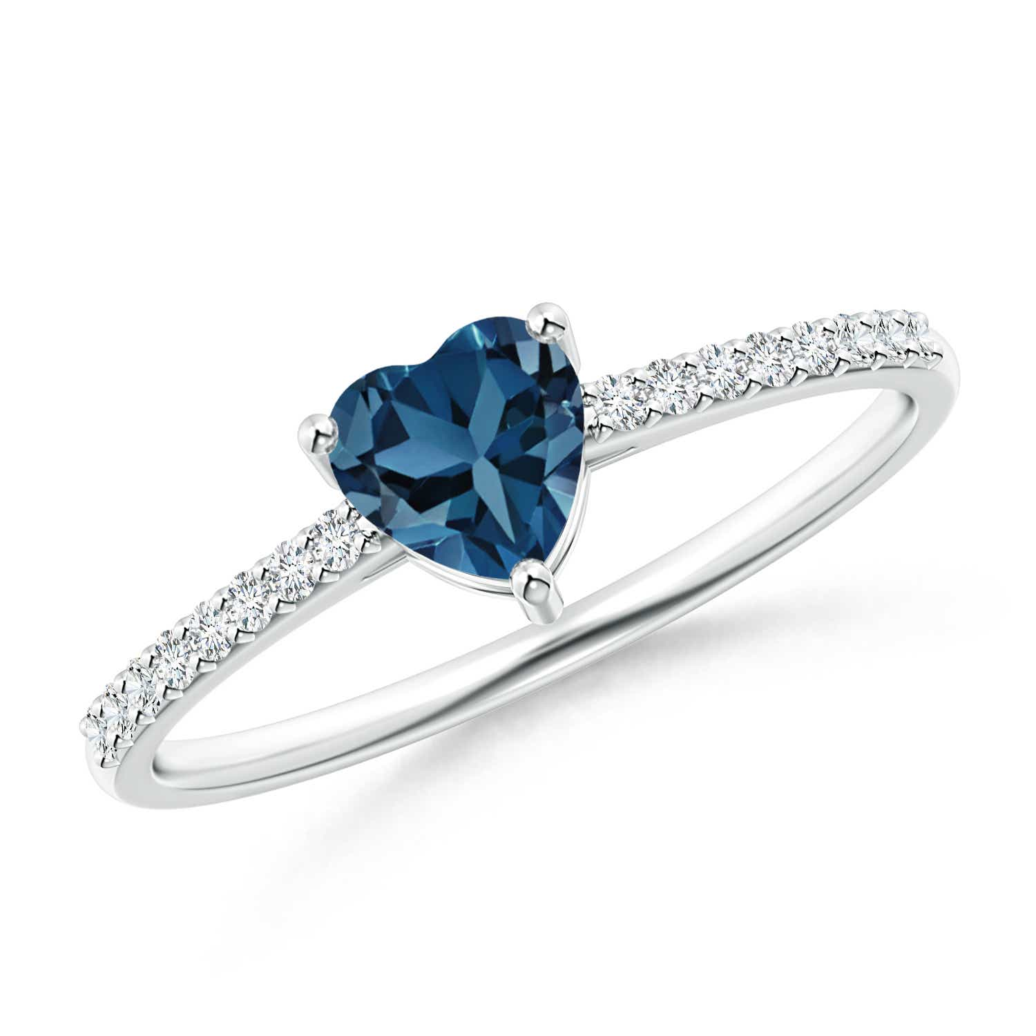 Angara Heart Shaped Swiss Blue Topaz Diamond Ring in White Gold
