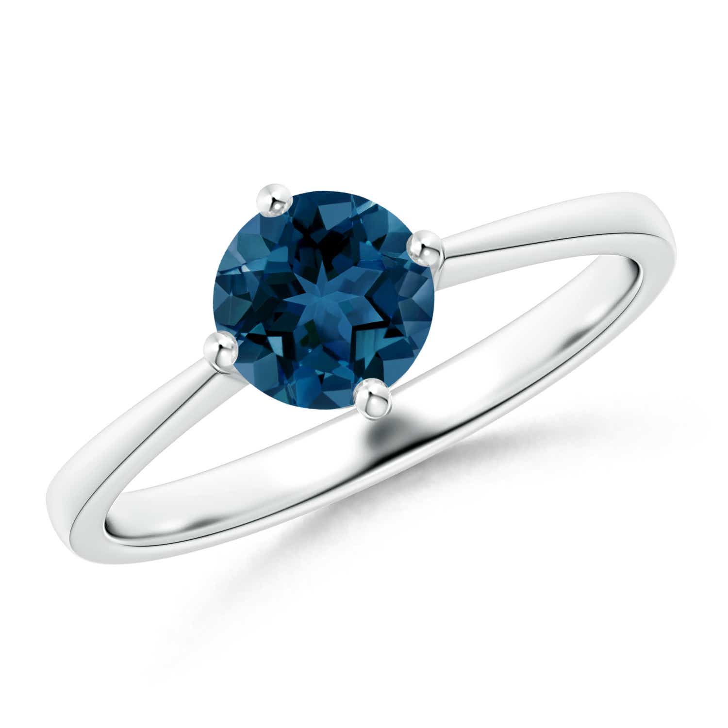 Angara Solitaire London Blue Topaz Engagement Ring in Platinum