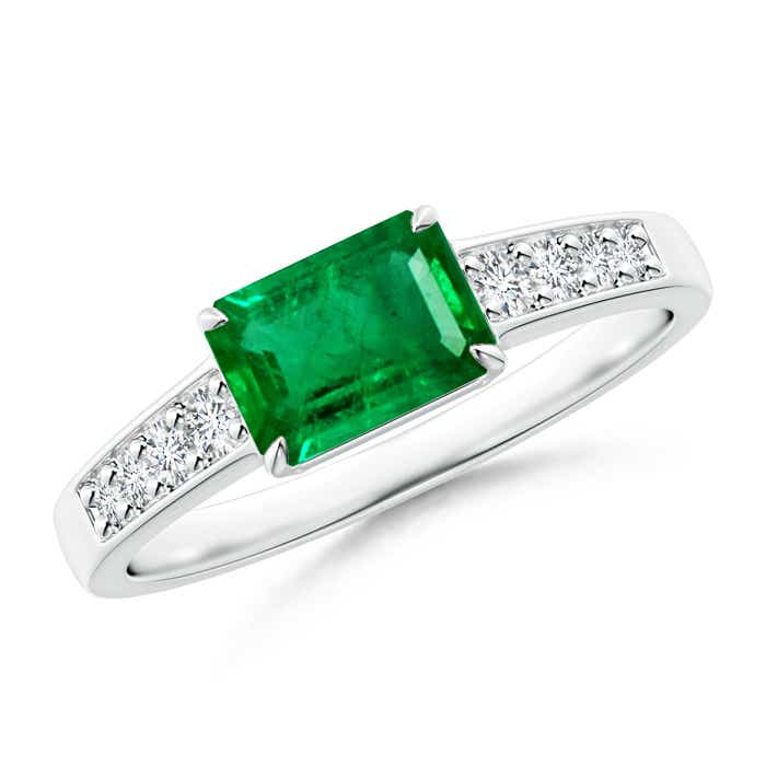 East West Emerald-Cut Emerald Solitaire Ring with Diamond Accents - Angara.com