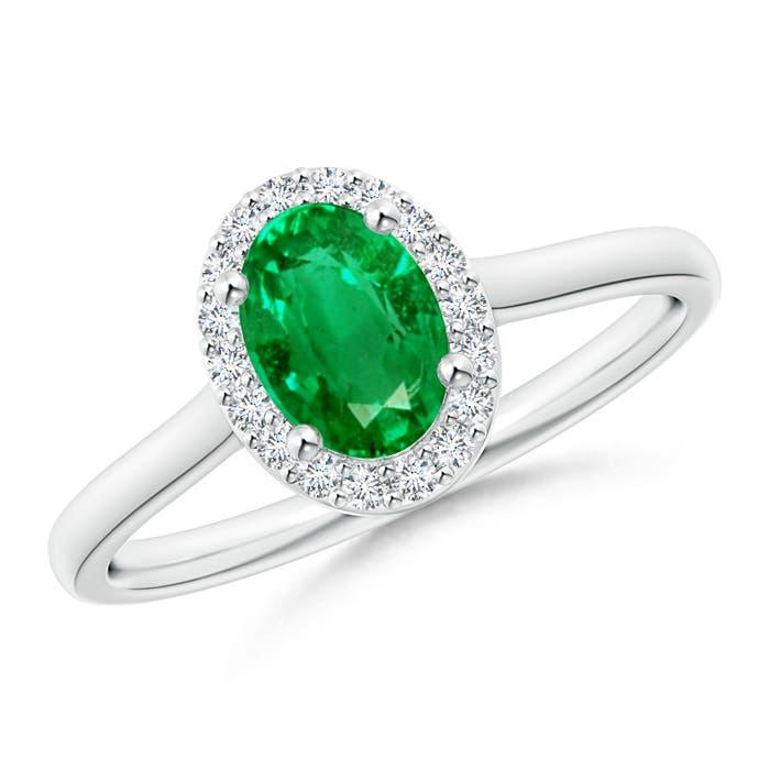 Angara Prong-Set Oval Emerald and Diamond Halo Ring US87cX