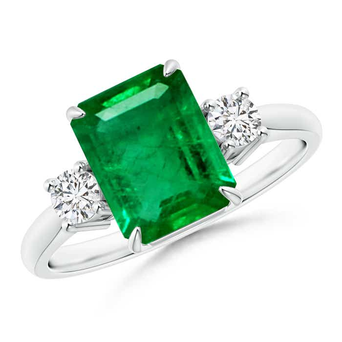 Claw-Set 3-Stone Emerald-Cut Emerald and Diamond Ring - Angara.com