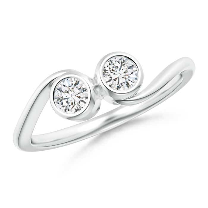 Two Stone Bezel Set Round Diamond Engagement Ring - Angara.com