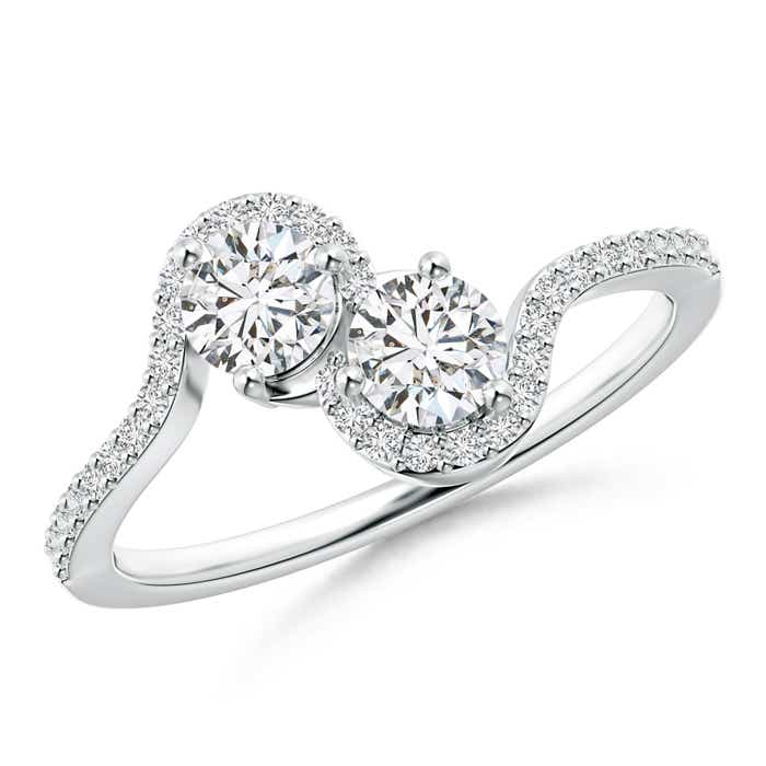 Two Stone Diamond Bypass Engagement Ring with Accents - Angara.com