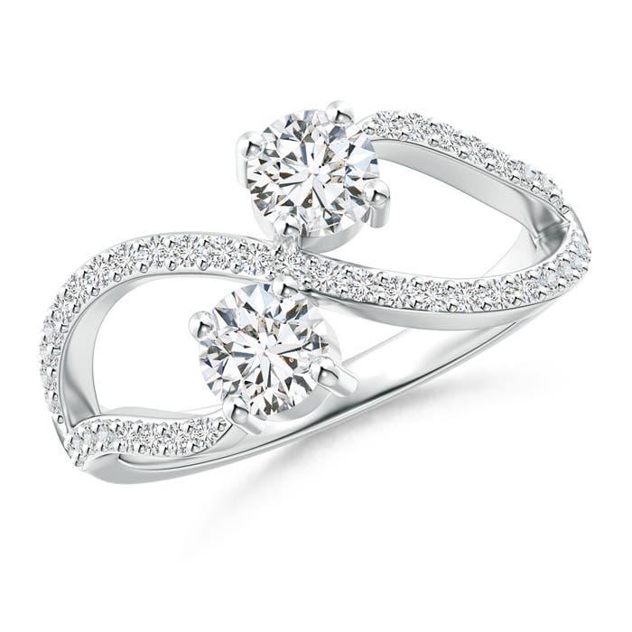 Split Shank Two Stone Diamond Bypass Ring with Prong-Set - Angara.com