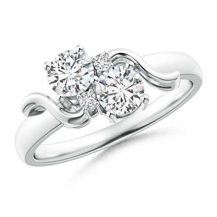 Angara Vintage Inspired Two Stone Diamond Ring with Diamond Accents w02W9FQ1