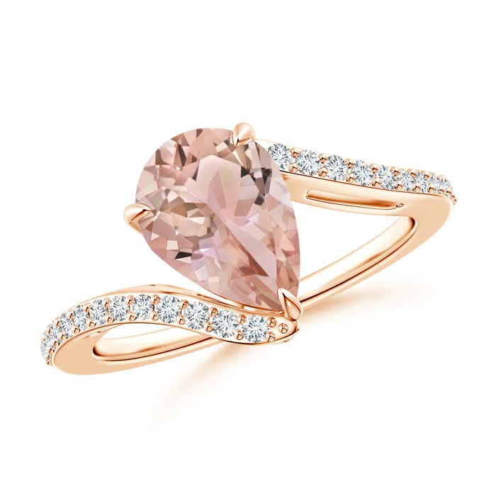 Solitaire Pear Morganite Bypass Ring with Diamond Accents - Angara.com