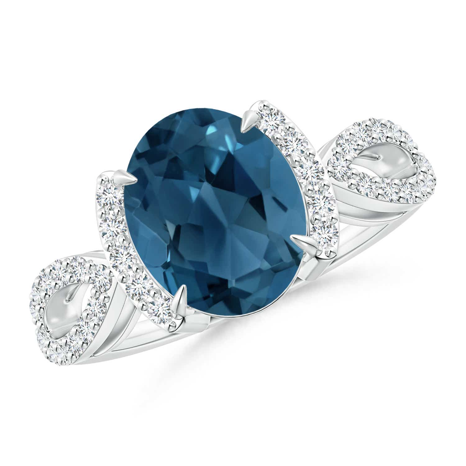 Angara London Blue Topaz Split Shank Ring with Diamond Half Halo ZEfWWs