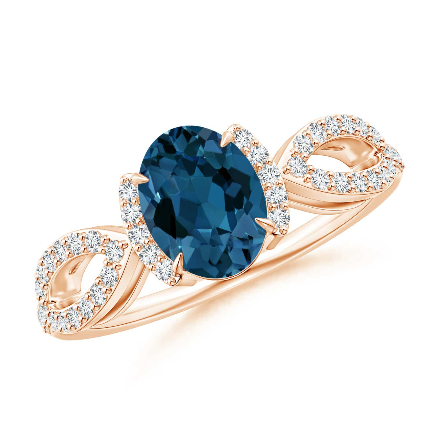 Angara Oval London Blue Topaz Ring with Diamond Floral Accents GQsYKt