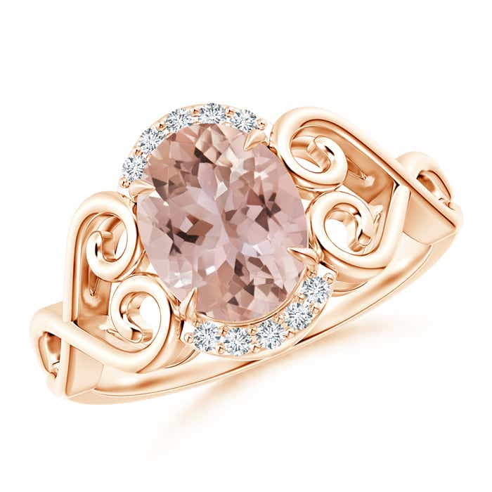 Vintage Oval Morganite Solitaire Ring with Diamond Accents