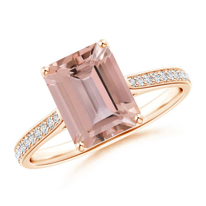 Angara Trillion Morganite Cocktail Ring with Diamond Accents MjbBy7HtdI
