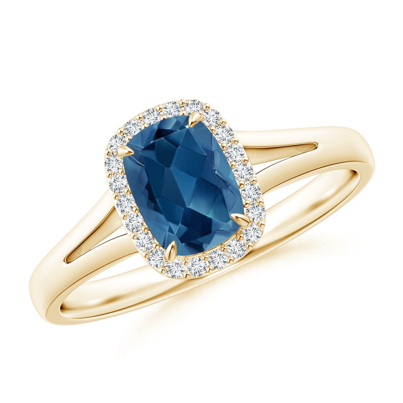 White Topaz Diamond Halo Ring