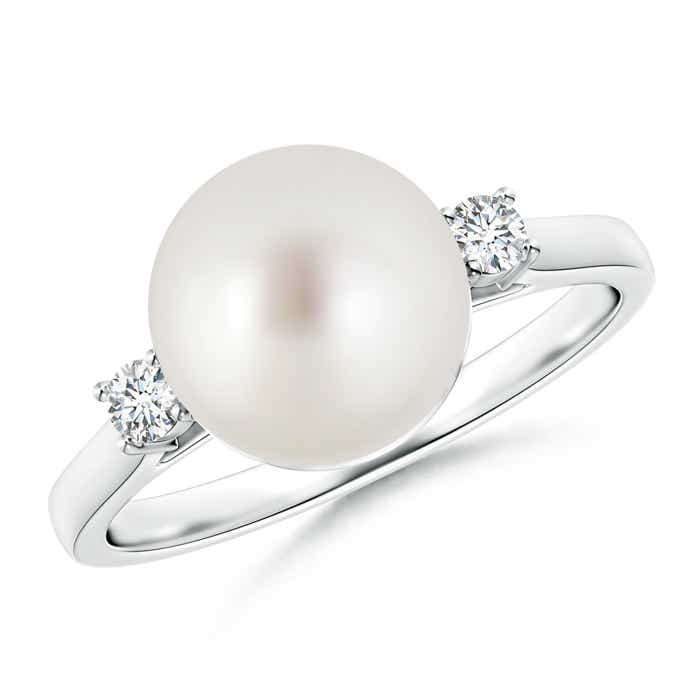 Ball Shaped South Sea Cultured Pearl Solitaire Ring with Diamond Accents - Angara.com