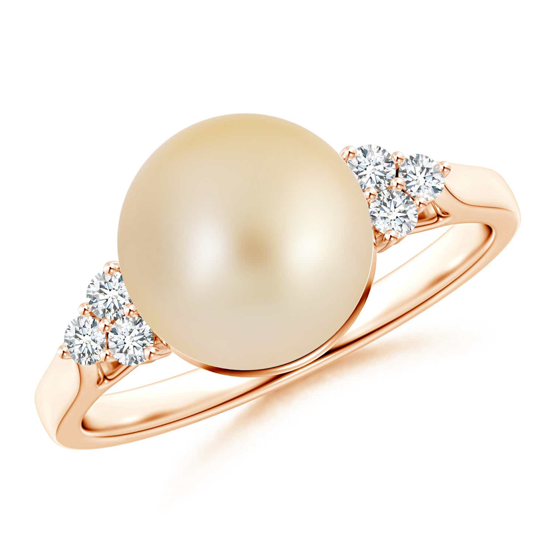 Angara South Sea Cultured Pearl Ring with Trio Diamonds eMY5ZG
