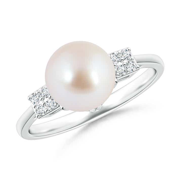 Deco Inspired Solitaire Akoya Cultured Pearl Ring with Cluster Diamonds - Angara.com