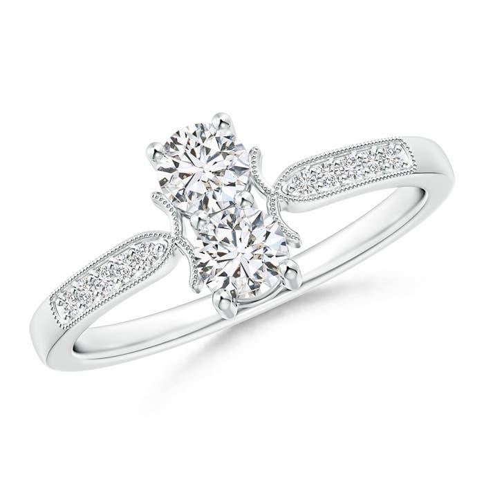 Two Stone Diamond Ring with Milgrain Detailing - Angara.com