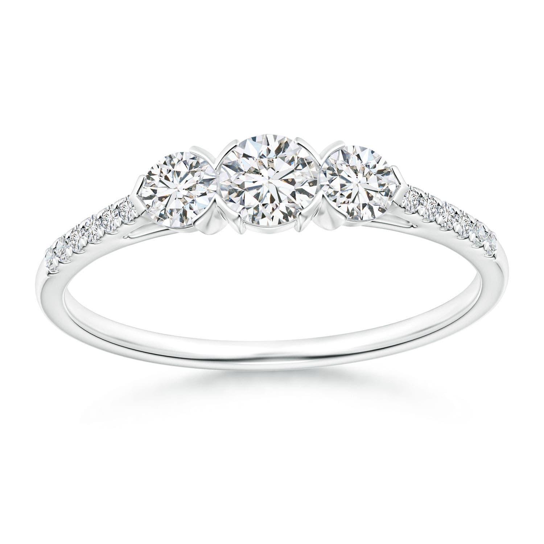 Unique Prong Set Diamond Three Stone Engagement Ring - Angara.com