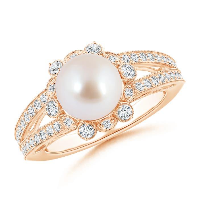 Split Shank Akoya Cultured Pearl Halo Ring with Diamond Milgrain - Angara.com