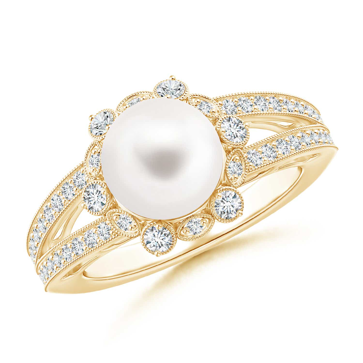 Angara Freshwater Cultured Pearl Halo Ring with Milgrain XfZTfNe7dQ