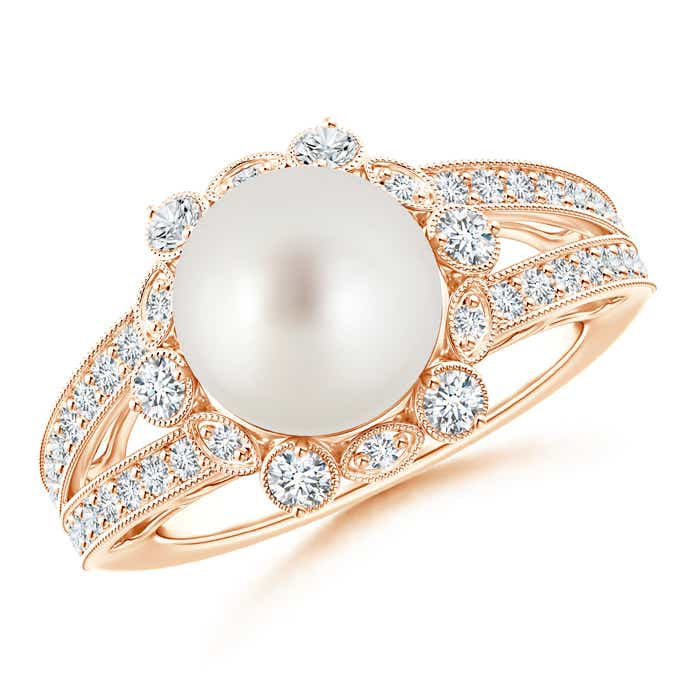 Split Shank South Sea Cultured Pearl Halo Ring with Diamond Milgrain - Angara.com