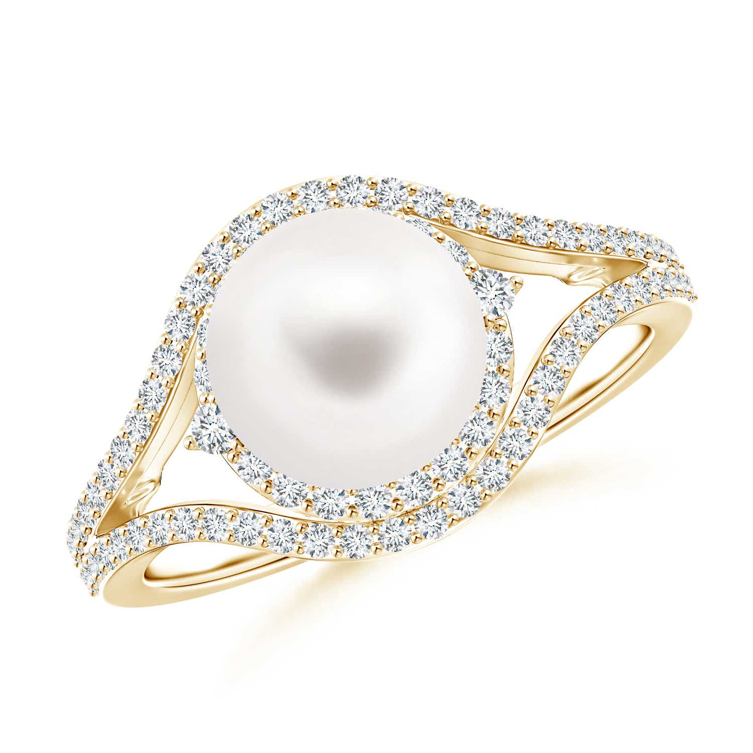 FreshWater Cultured Pearl Split Shank Ring with Diamond Double Halo - Angara.com