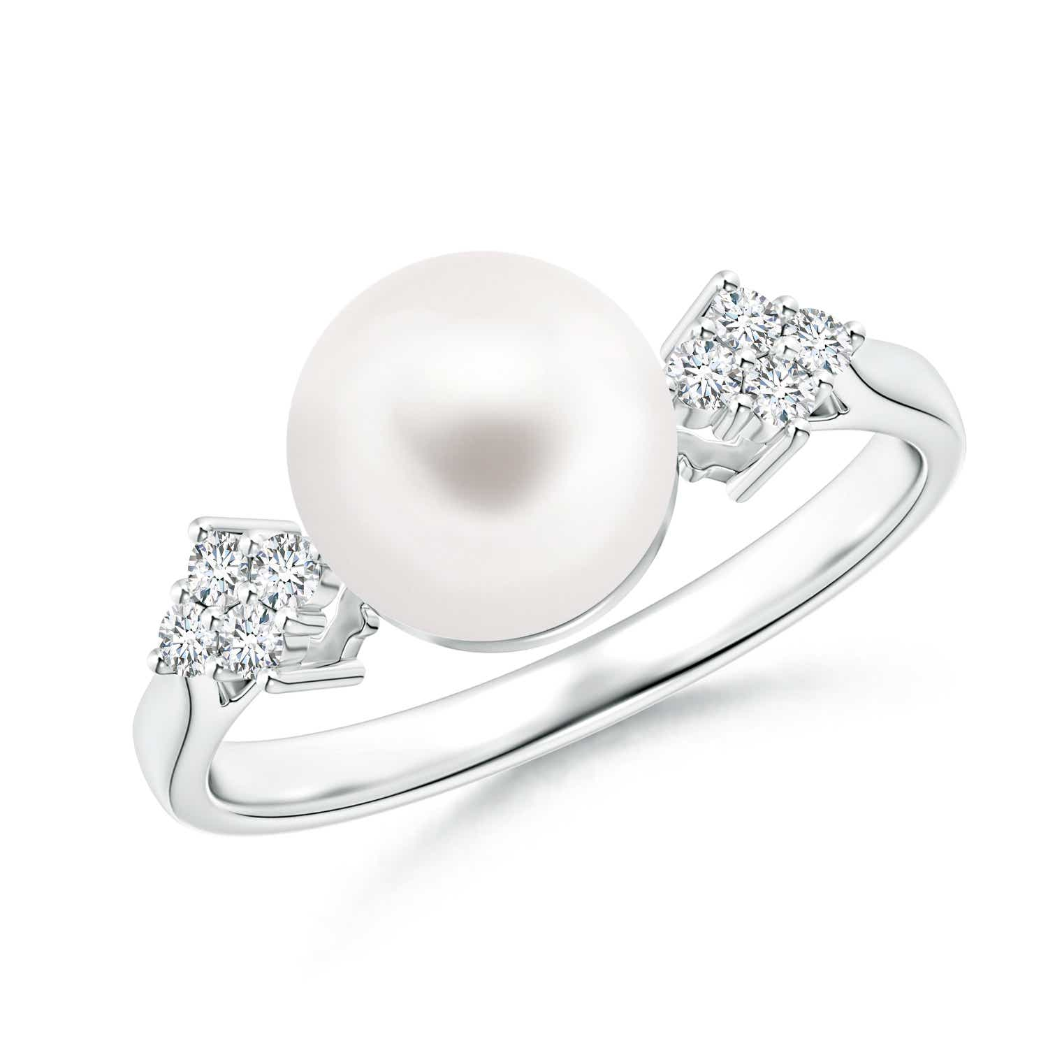 Solitaire FreshWater Cultured Pearl Ring with Cluster Diamond Accents - Angara.com
