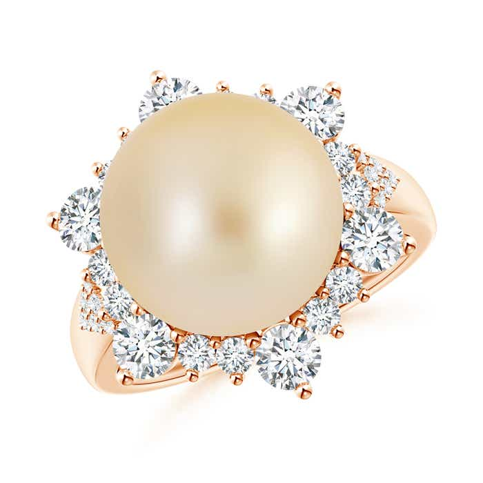 Angara Golden South Sea Cultured Pearl Ring with Floral Halo b7sH3s