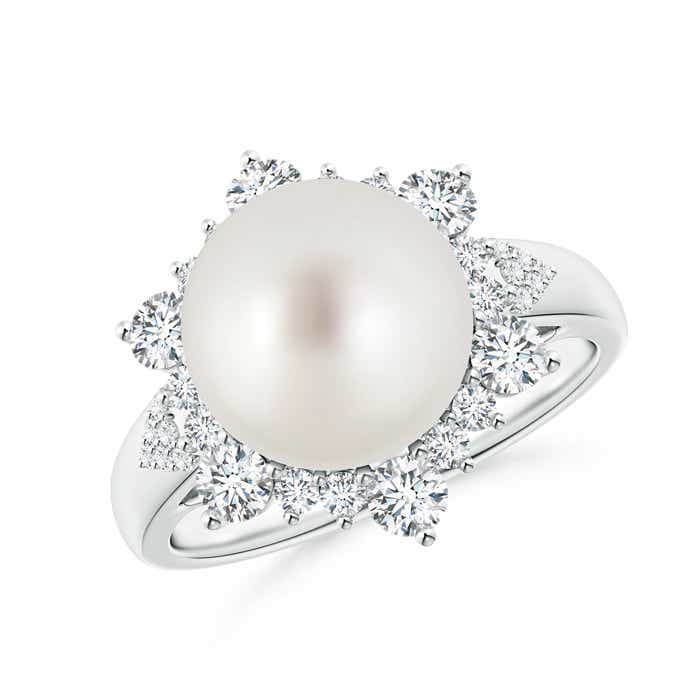 South Sea Cultured Pearl Halo Ring with Diamond Floral - Angara.com