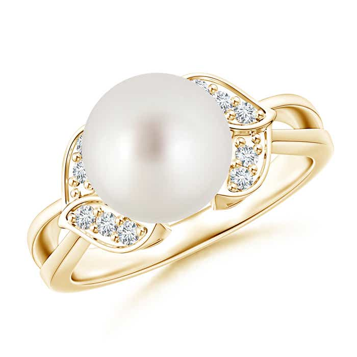 Split Shank South Sea Cultured Pearl Solitaire Ring with Diamond Leaf - Angara.com