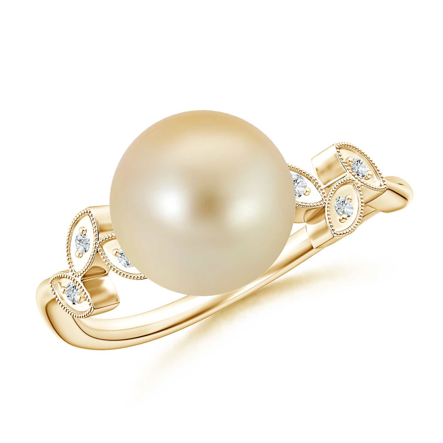 Angara Golden South Sea Cultured Pearl Bypass Ring with Trio Diamond oLpFlGfN