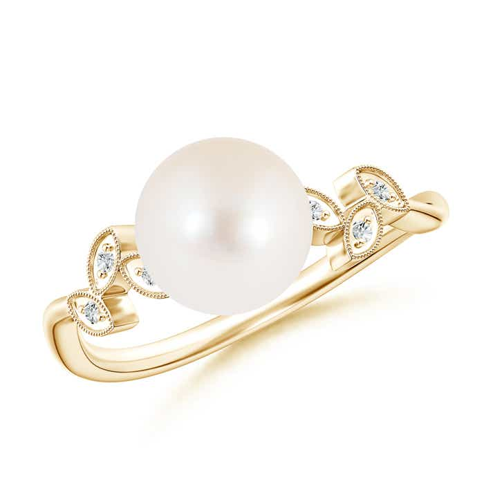 Vintage Inspired FreshWater Cultured Pearl Ring with Diamond Milgrain - Angara.com