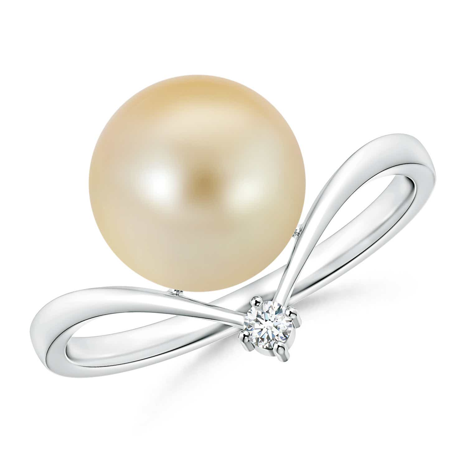 Angara Golden South Sea Cultured Pearl and Diamond Swirl Bypass Ring KIDYRUvvfg