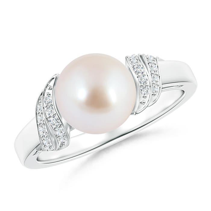 Round Akoya Cultured Pearl Solitaire Ring with Diamond Swirl - Angara.com